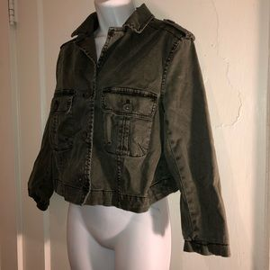 ANTHROPOLOGIE Hei Hei Green Utility Jacket Size 12